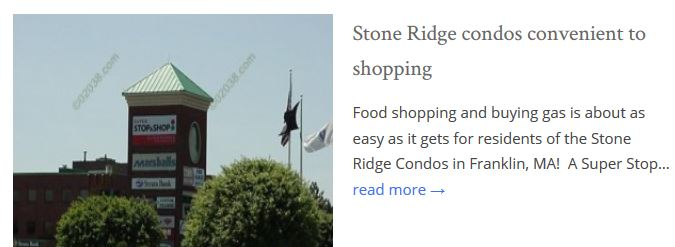 Stone Ridge Condos Franklin MA shopping