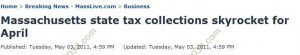 MA tax collections soar april 2011