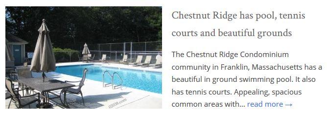 Chestnut Ridge Condos Franklin MA common areas