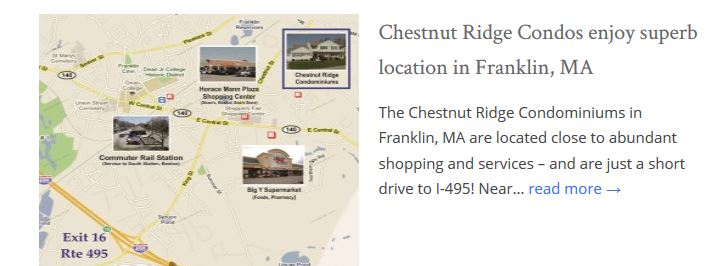 Chestnut Ridge Condos Franklin MA location