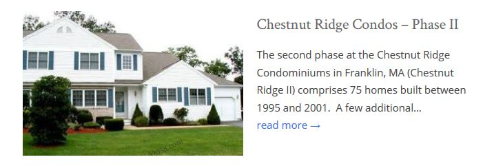 Chestnut Ridge Condos Franklin MA phase II