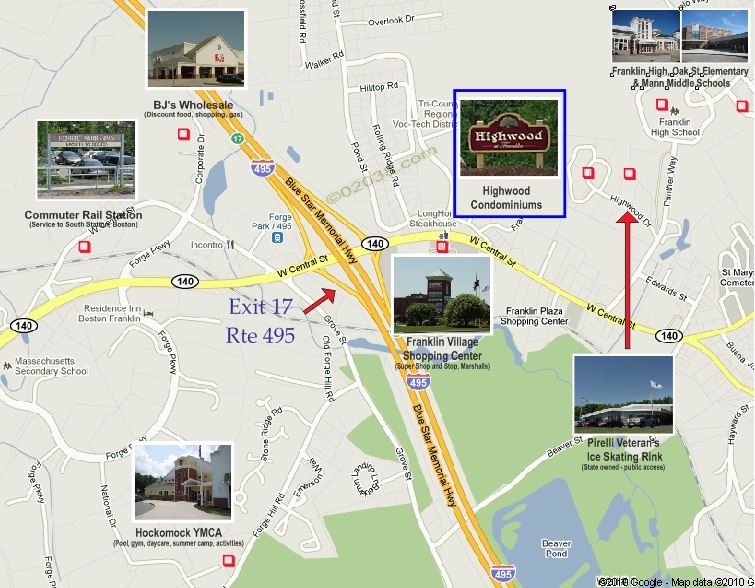 Highwood condos Franklin MA - map