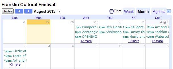 schedule Franklin MA Culture Festival 2015