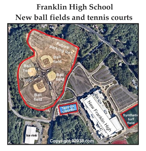 ball fields high school franklin ma - map