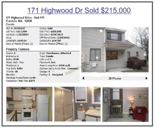 Highwood Condos Franklin MA - high sale 2015