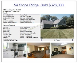 Stone Ridge condos Franklin MA - 2015 high sale