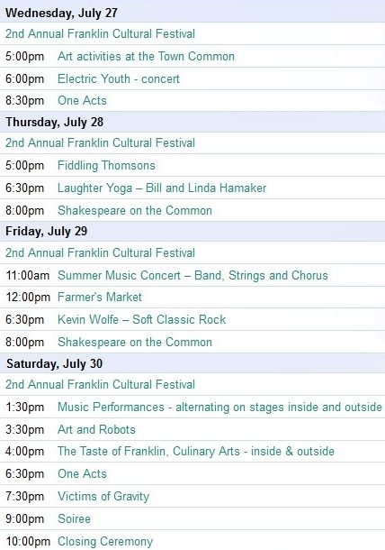 Frankln Cultural Festival Franklin MA schedule