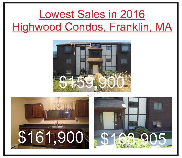 Highwood Condos Franklin MA - lowest sales 2016
