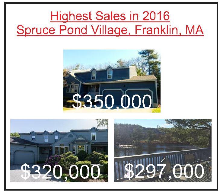 Spruce Pond condos Franklin MA - highest sales 2016