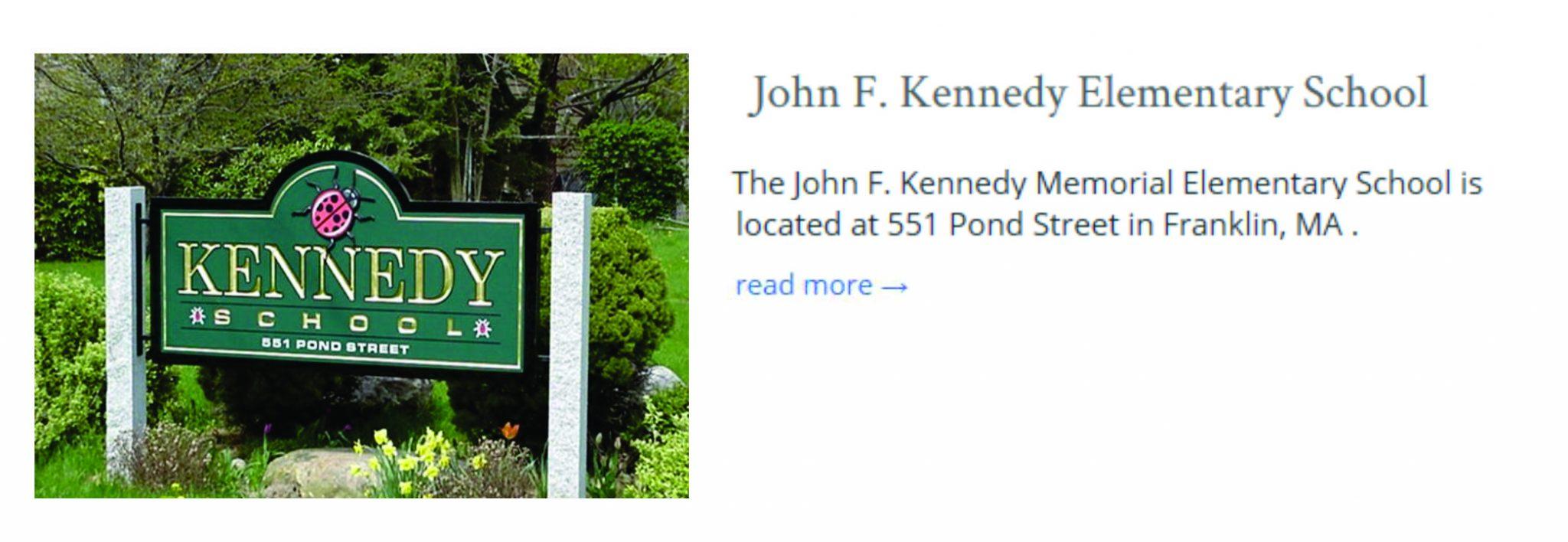 John F Kennedy Elementarty School Franklin MA