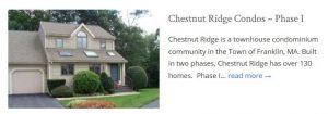 Chestnut Ridge Condos Franklin MA Phase I