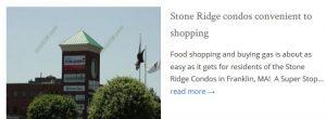 Stone Ridge Condos Franklin MA shopping