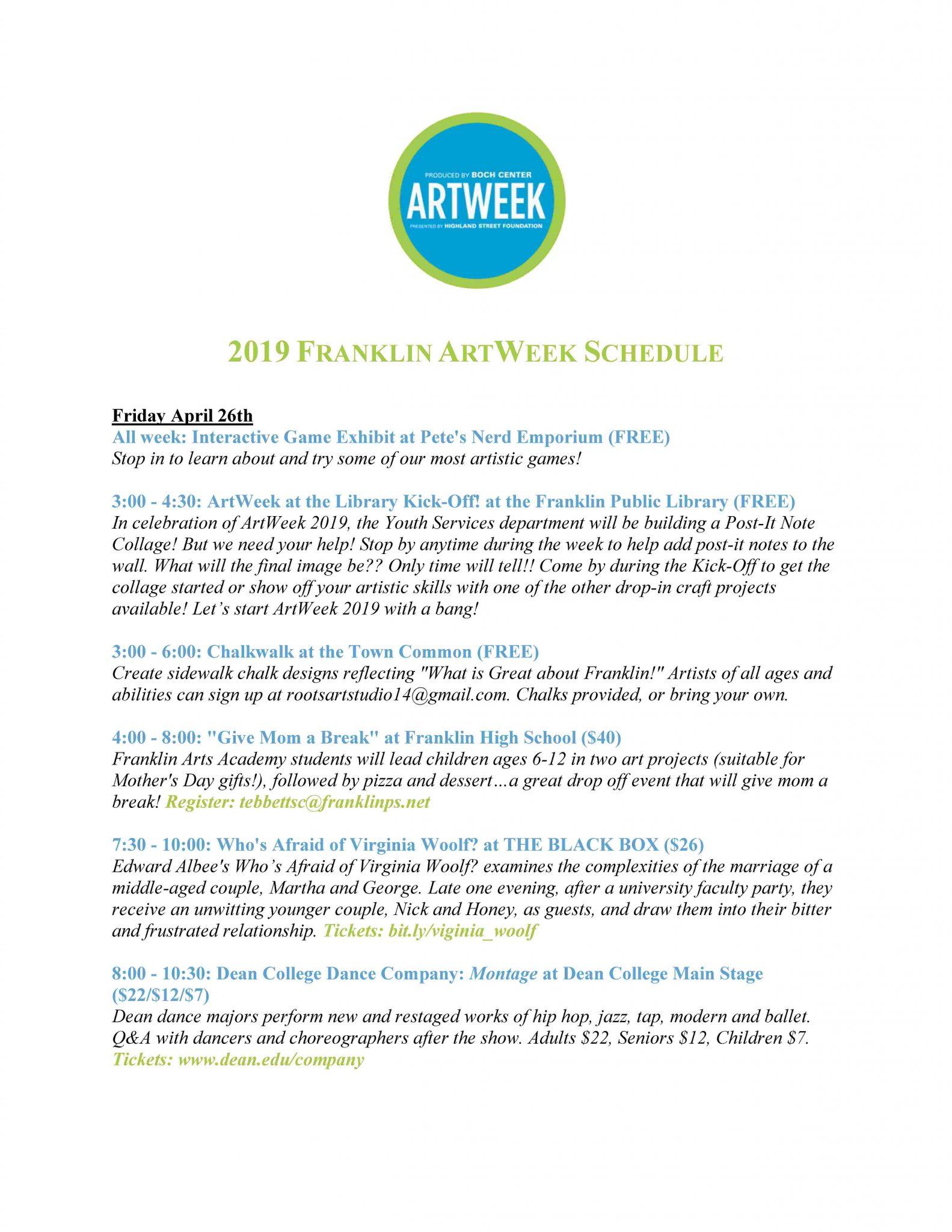 ArtWeekFranlin MA schedule