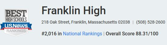 US News ranks Franklin High in top 30 percent of high
