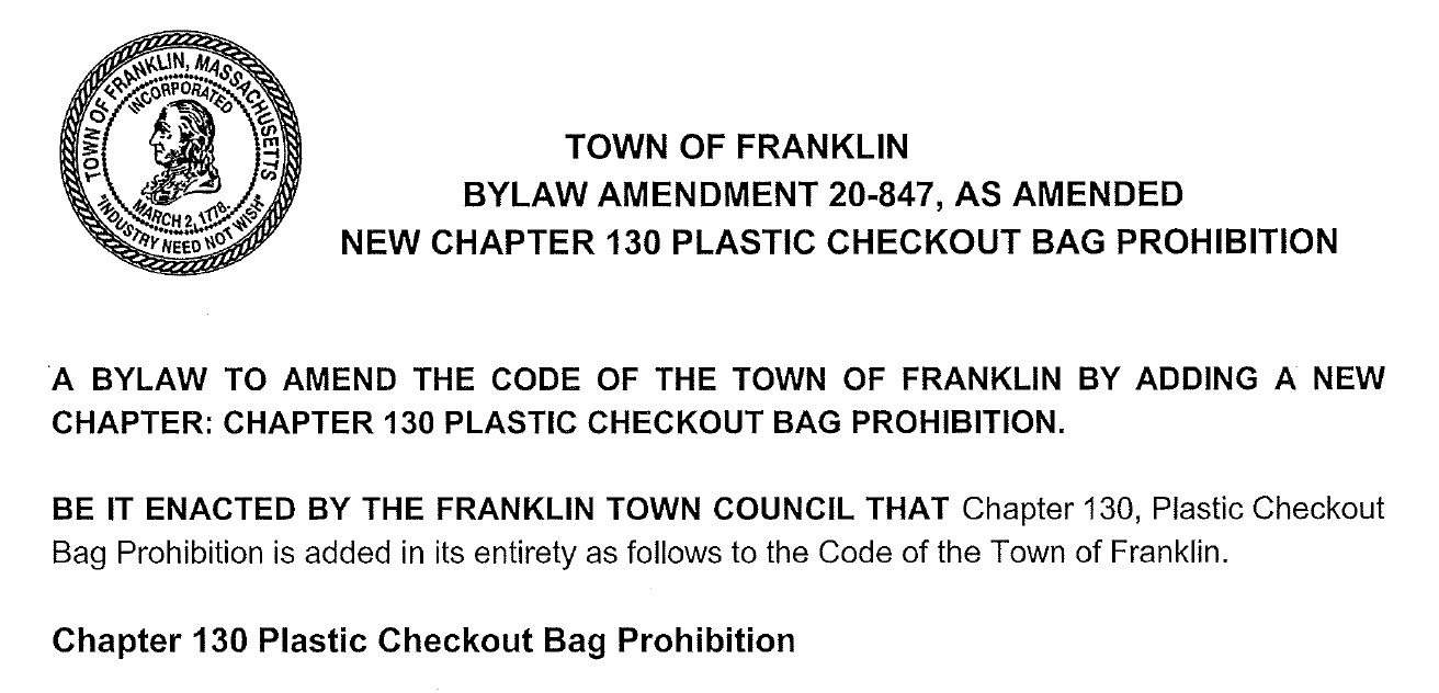 Plastic Checkout Bag Prohibition Franklin MA