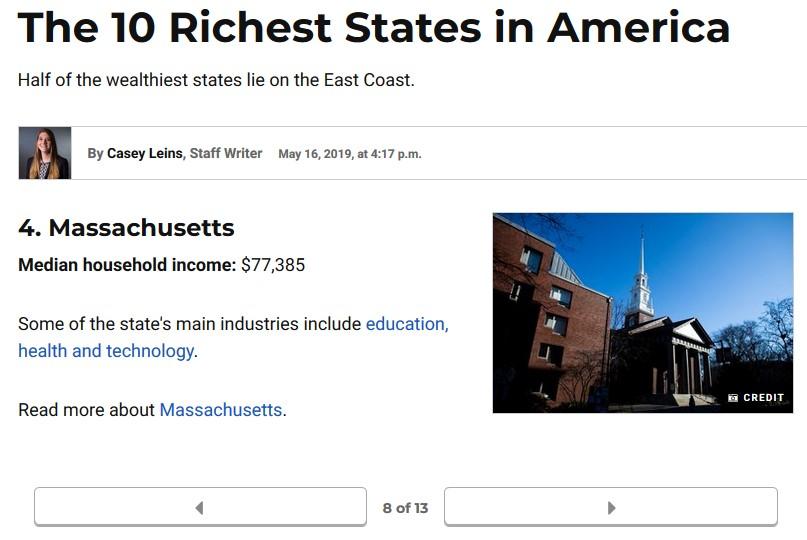 Massachusetts richest state