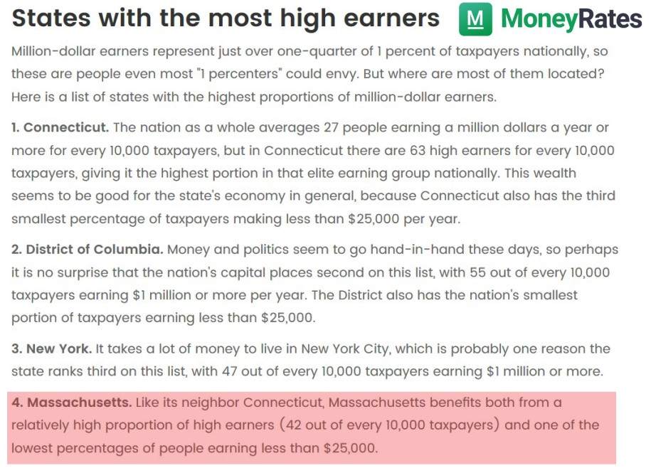Masssachusetts high earners